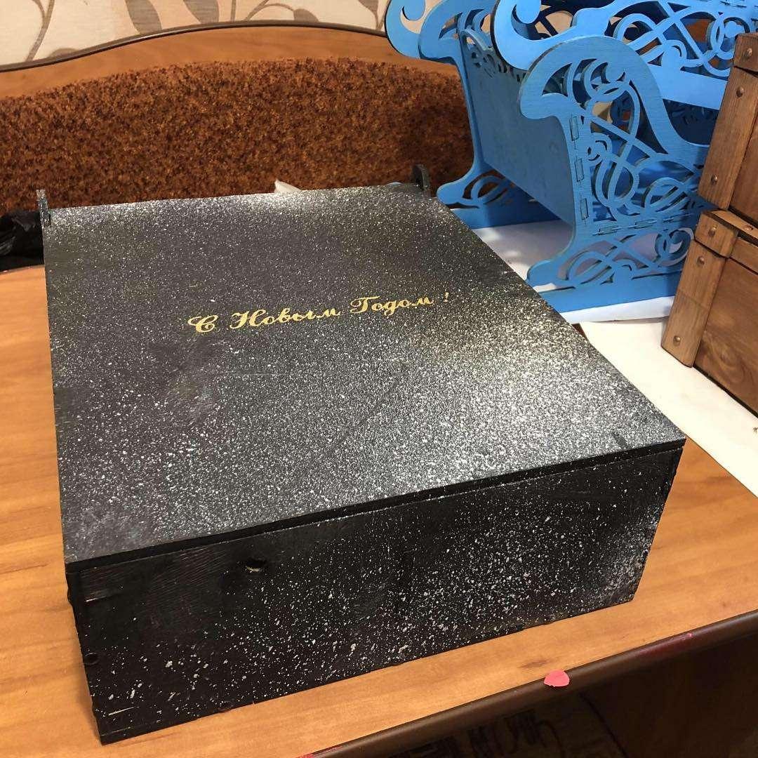 С Новым Годом - Черный Деревянный бокс (ящик) для составления подарка на 2,3 или 9 отделений (40 х 30 х 10 см) Бокс для подарка,Дерево,Хит сезона,В букет - Цена, Стоимость - 700 руб.(доставка по всей России)