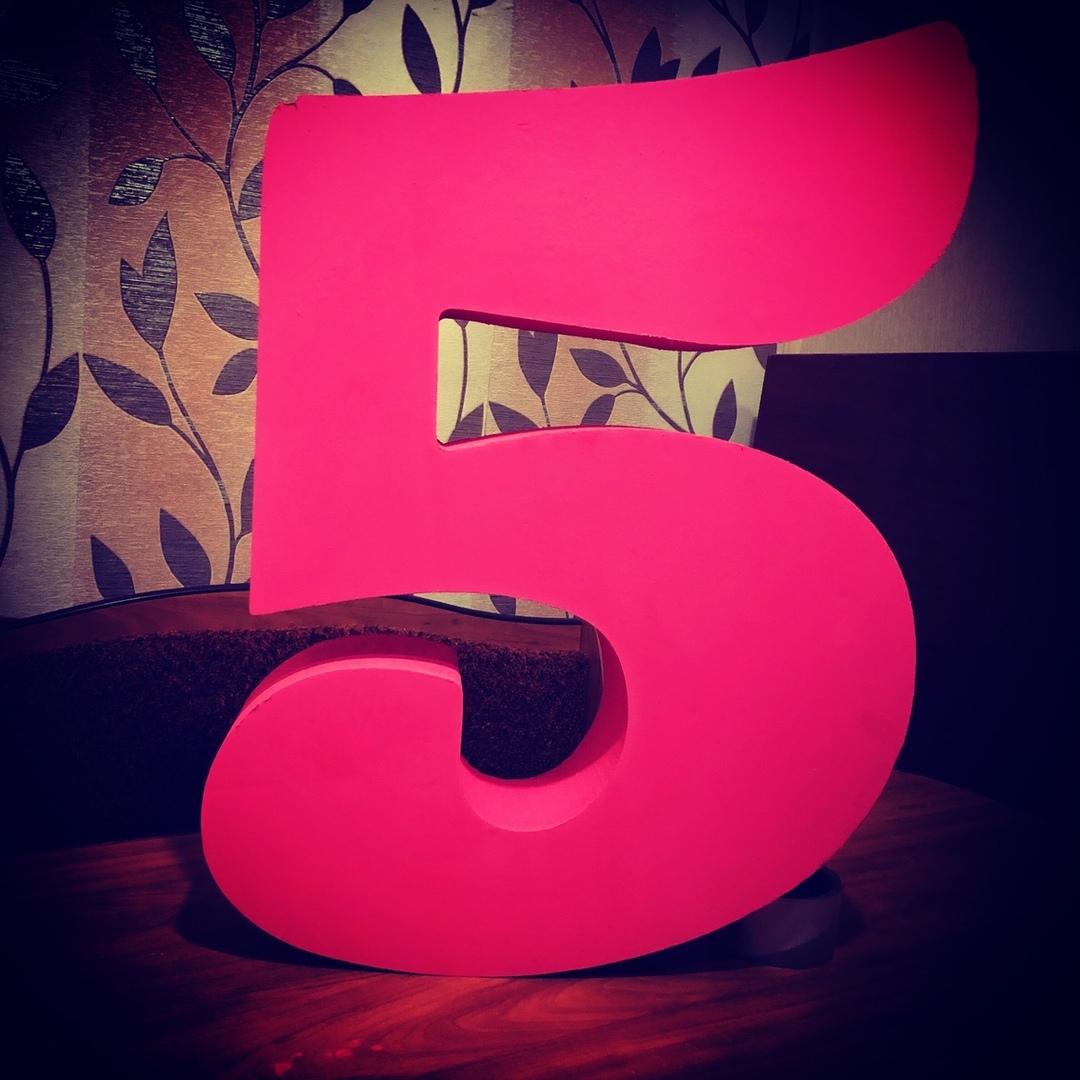 Объемная «Цифра 5» Размер 45х60х10 см. Цвет алый объемные буквы, буквы для фотосессий, фотосессия.объемные цифры, цыфры, белгород, шебекино - Цена, Стоимость - 550 руб.(доставка по всей России)
