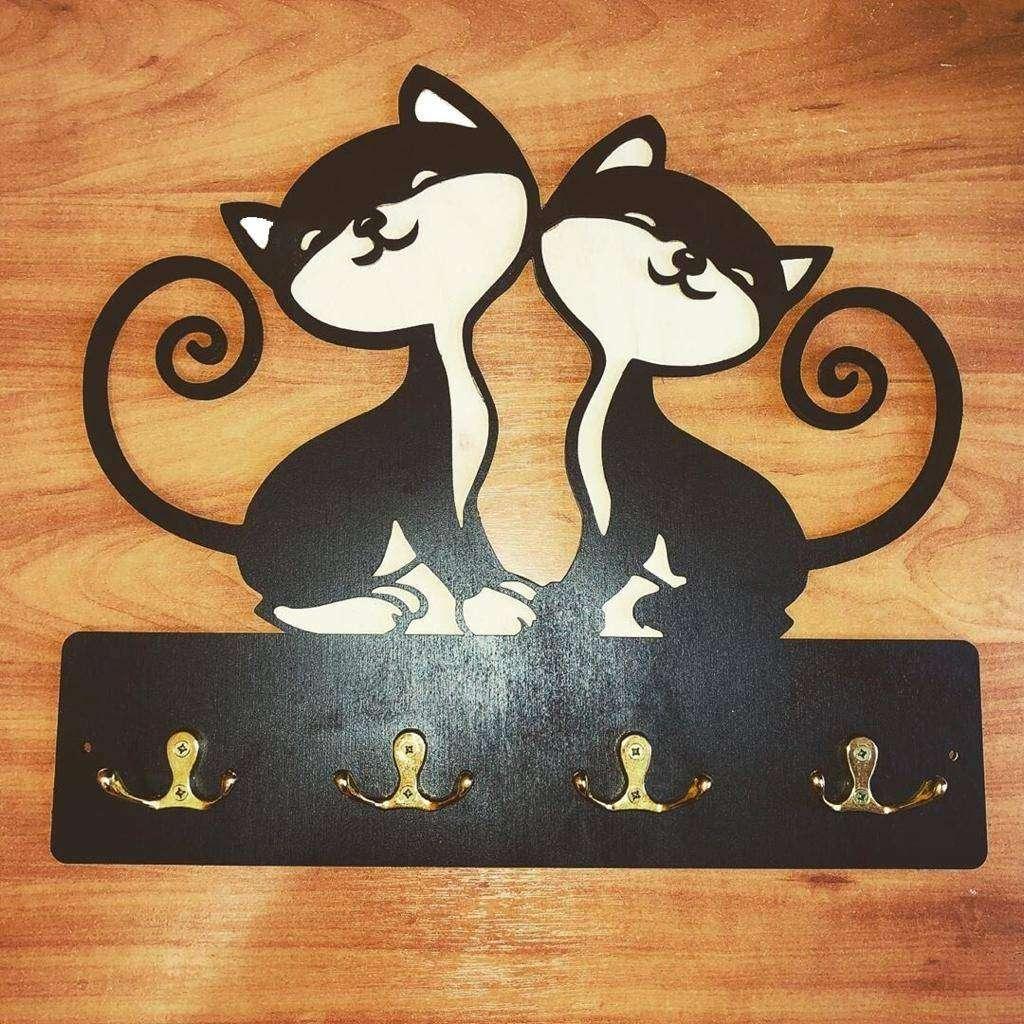 Ключница «Котята» Эксклюзивная ключница «Котята» на 4 двойных крючка. Выполнена из дерева  - Цена, Стоимость - 560 руб.(доставка по всей России)