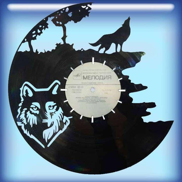 Волк Услуга по изготовлению Каркаса, для изготовления часов из пластики в тематике - \Волк\ Wolf,Часы из пластинки,Волк - Цена, Стоимость - 300 руб.(доставка по всей России)