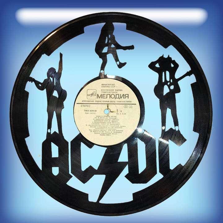 """AC/DC Услуга по изготовлению Каркаса, для изготовления часов из пластики в тематике - """"AC/DC"""" Рок легенды,Часы из пластинки,AC/DC,AC-DC - Цена, Стоимость - 300 руб.(доставка по всей России)"""