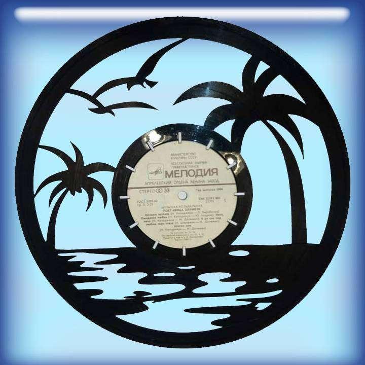 Тропики Каркас для изготовления часов из пластики в тематике - Тропики Часы из пластинки,Тропики,Сделай сам,Виниловые пластинки,сувенир,подарок - Цена, Стоимость - 300 руб.(доставка по всей России)