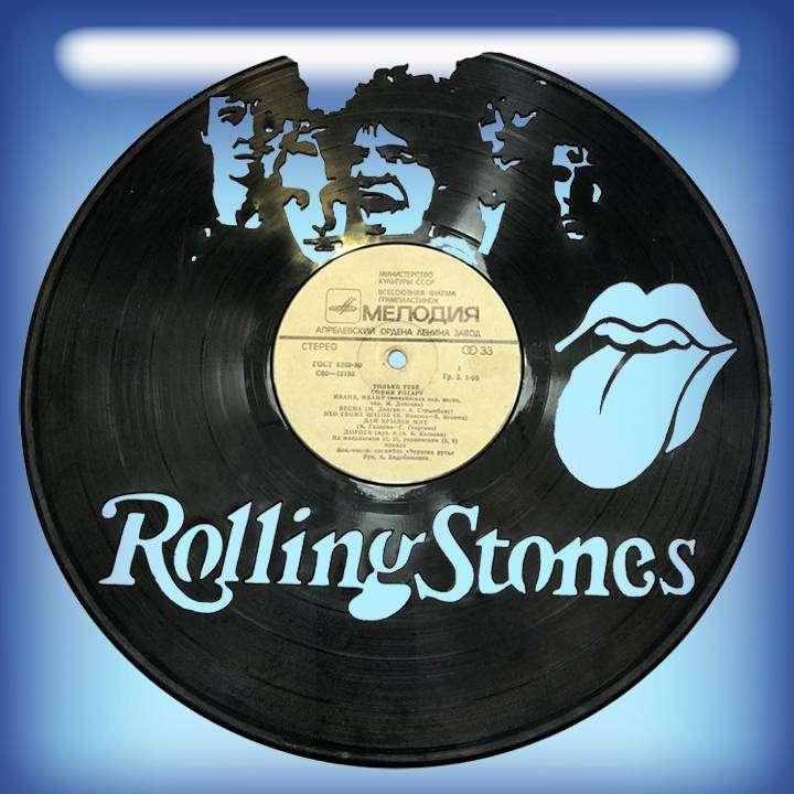 """Rolling Stones Услуга по изготовлению Каркаса, для изготовления часов из пластики в тематике - """"Rolling Stones"""" Роллинг стонс,Часы из пластинки,Rolling Stones - Цена, Стоимость - 300 руб.(доставка по всей России)"""