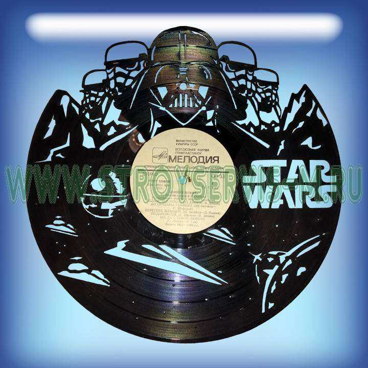 """Star Wars Услуга по изготовлению Каркаса, для изготовления часов из пластики в тематике - """"Star Wars"""" Звездные войны,Часы из пластинки,Star Wars - Цена, Стоимость - 300 руб.(доставка по всей России)"""