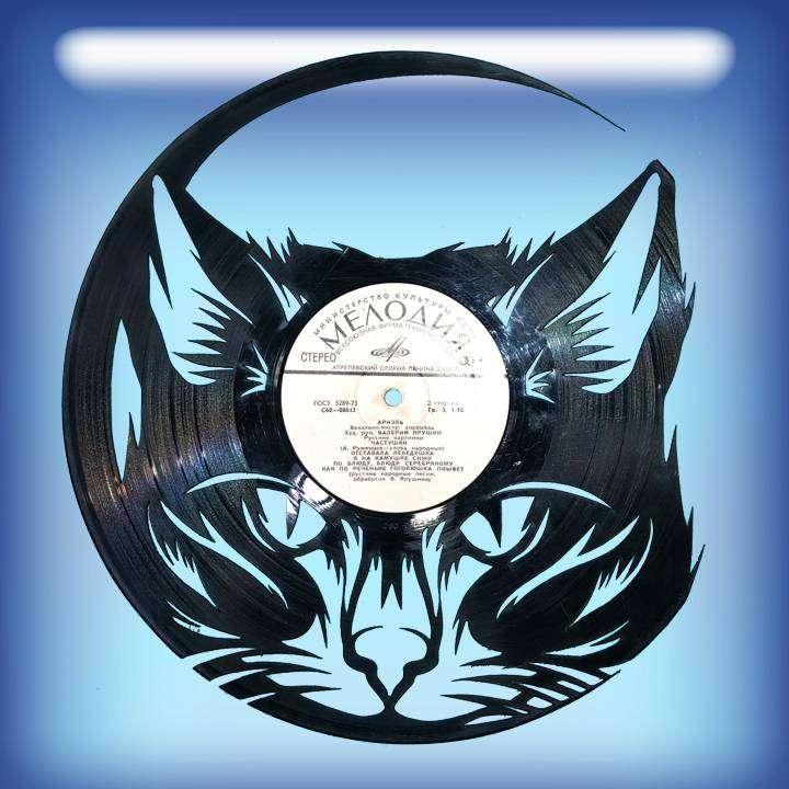 КОТ Услуга по изготовлению Каркаса, для изготовления часов из пластики в тематике - \КОТ\ Кошка,Часы из пластинки,КОТ - Цена, Стоимость - 300 руб.(доставка по всей России)