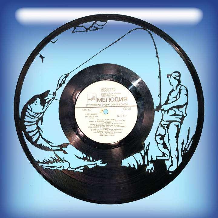 Рыбалка Услуга по изготовлению Каркаса, для изготовления часов из пластики в тематике - \Рыбалка\ Fishing,Часы из пластинки,Рыбалка - Цена, Стоимость - 300 руб.(доставка по всей России)