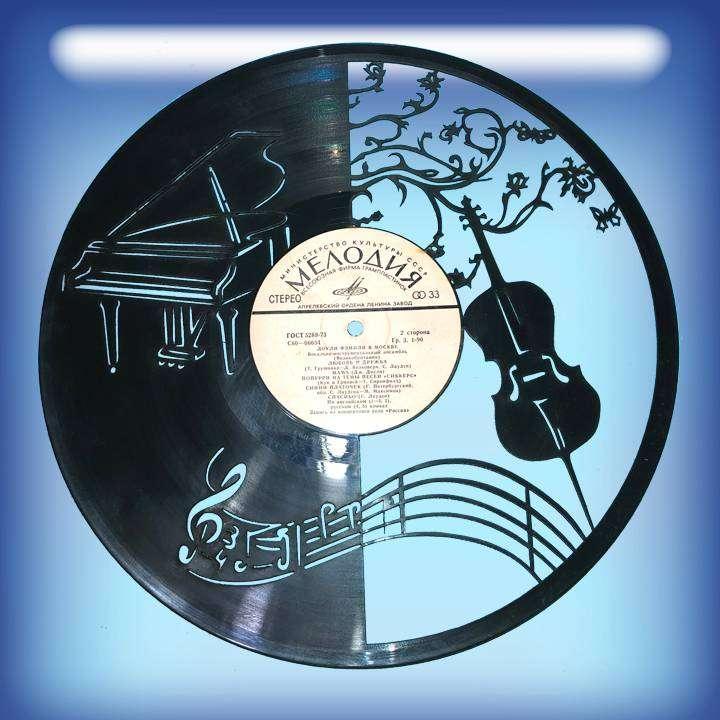 Музыка Каркас для изготовления часов из пластики в тематике - Музыка Music,Часы из пластинки,Музыка - Цена, Стоимость - 300 руб.(доставка по всей России)