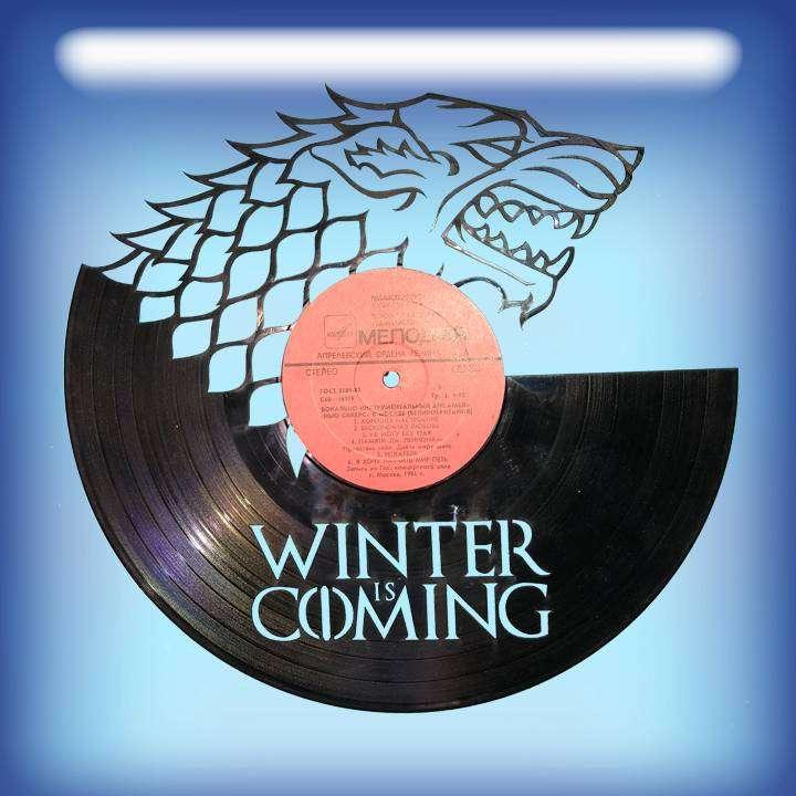 """Winter is Coming Услуга по изготовлению Каркаса, для изготовления часов из пластики в тематике - """"Winter is Coming"""" Winter is Coming,Часы из пластинки,Зима придет,Игра пристолов - Цена, Стоимость - 300 руб.(доставка по всей России)"""